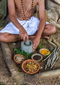 Mortar-and-pestle preparation of Ayurvedic herbs in combination.