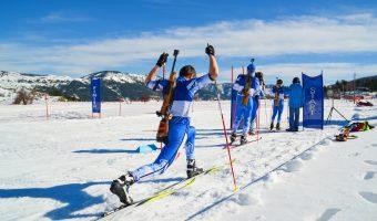ski biathlon athletes in start line waiting, Metsovo Ioannina Greece