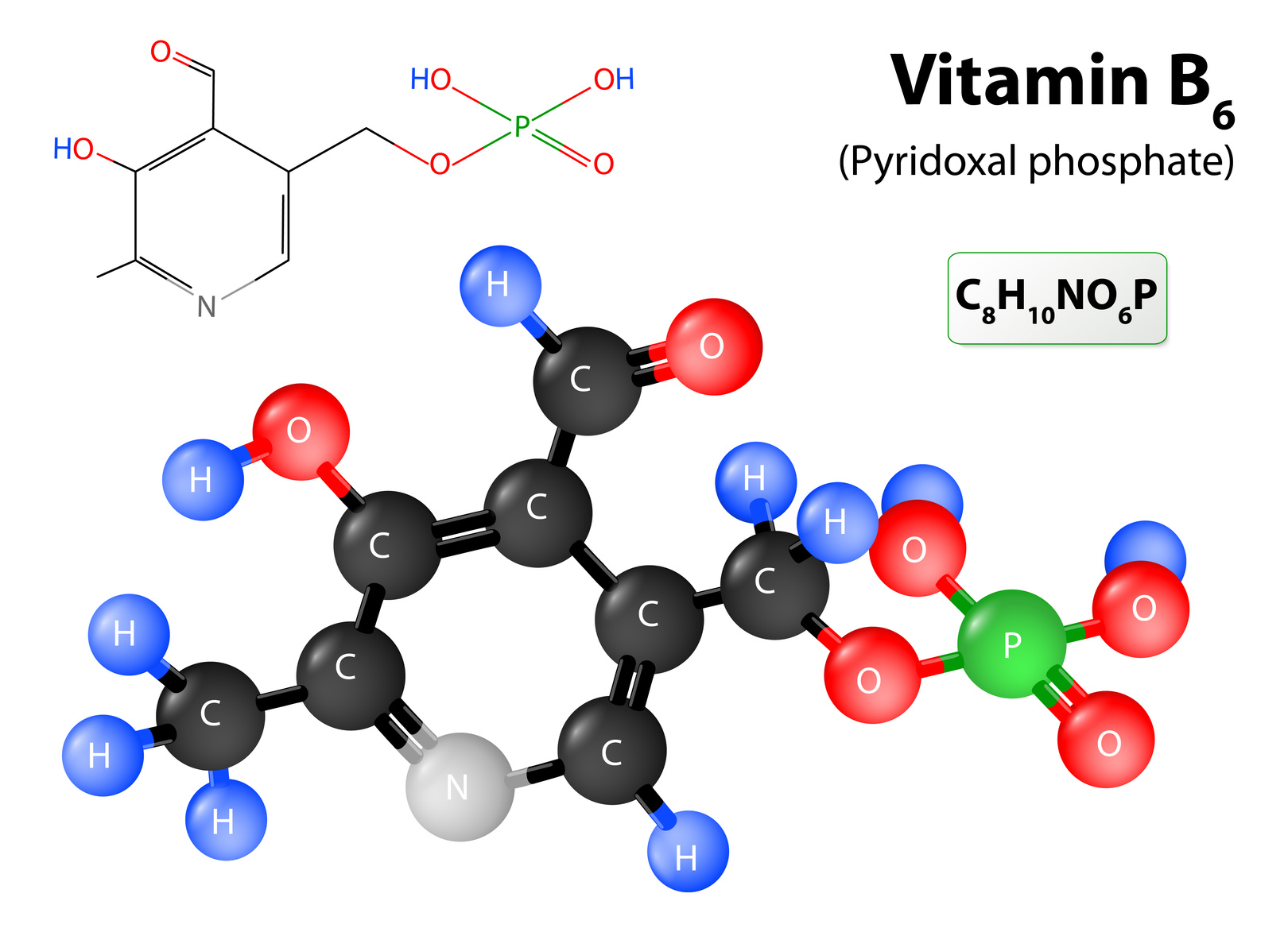 Pyridoxal phosphate the active form of vitamin B6. model of vitamin B6 molecule. Pyridoxal phosphate molecular structure