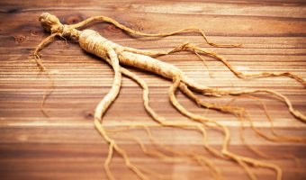 Ginseng on a wood background