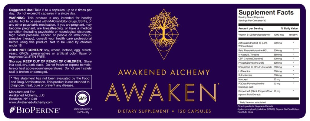 Awakened Alchemy Supplement Facts