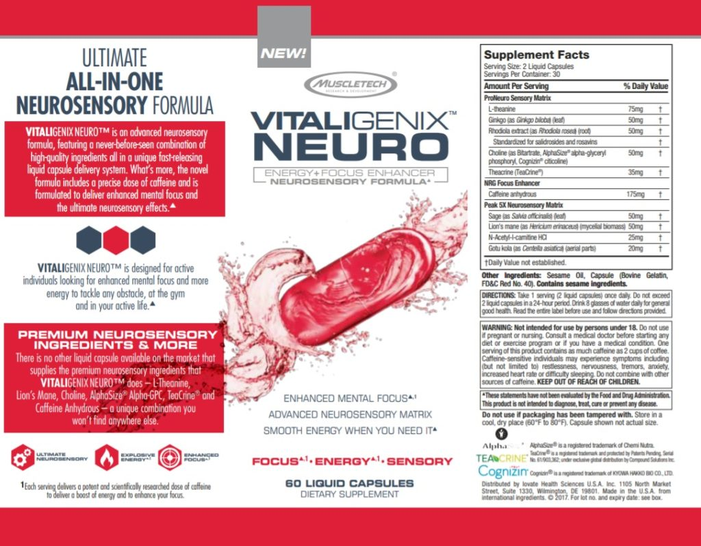 Vitaligenix Neuro Label