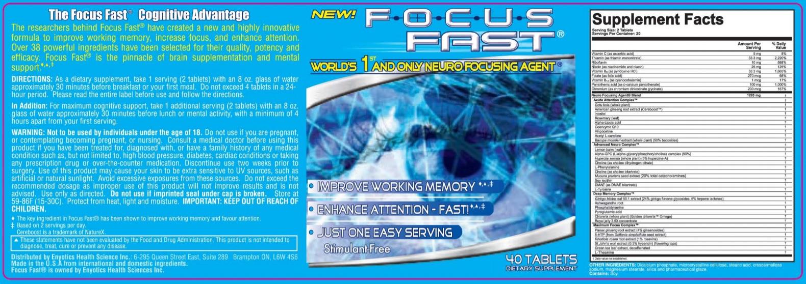 Focus Fast Product Label
