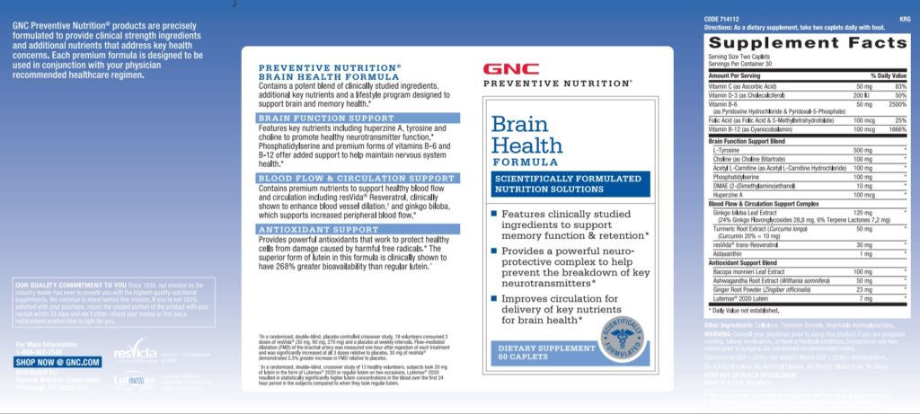 GNC Preventive Nutrition Brain Health Formula Supplement Facts