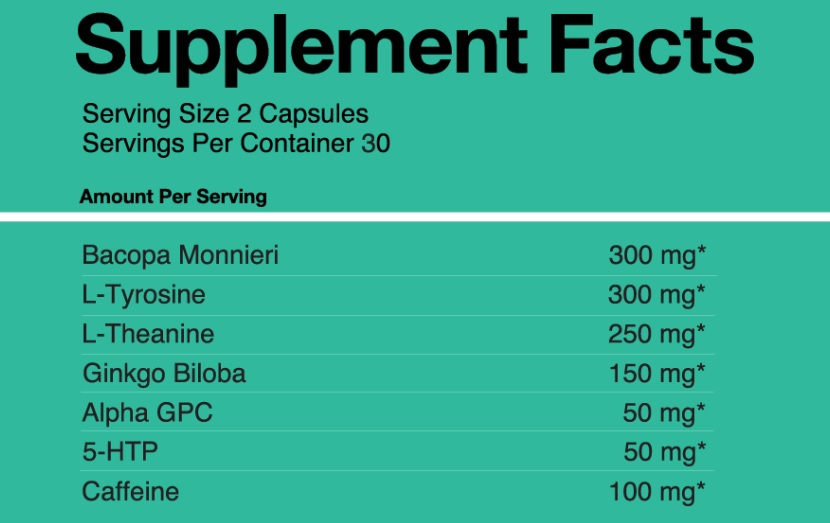 Focus Alert Relaxed Supplement Facts