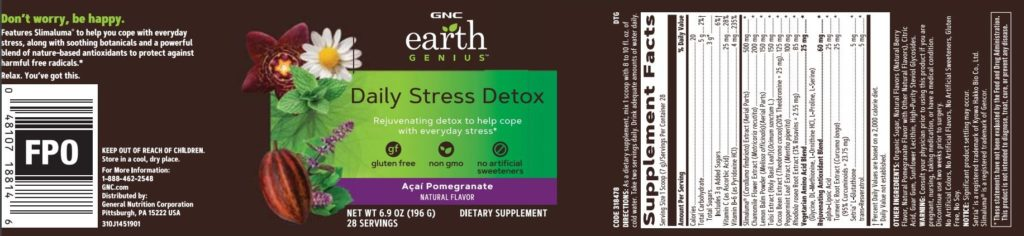 gnc earth genius daily stress detox label