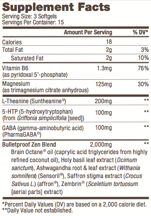 bulletproof zen mode supplement facts