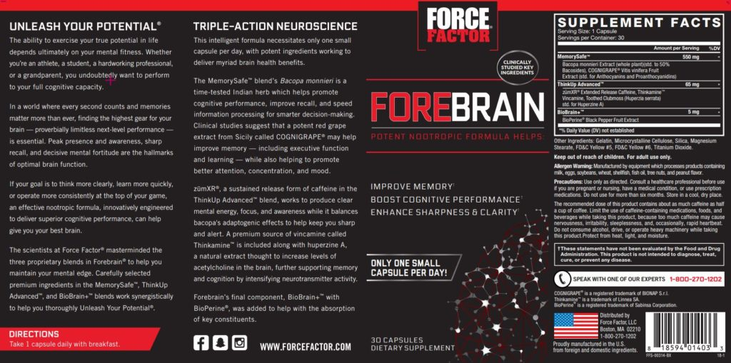 force factor forebrain label