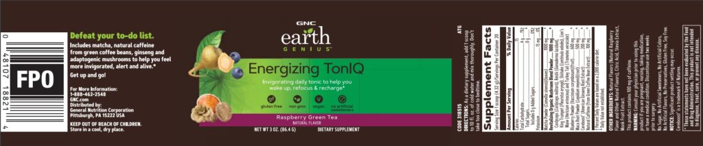 gnc earth genius energizing toniq label