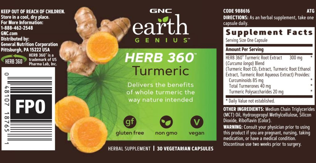 gnc earth genius herb 360 turmeric label